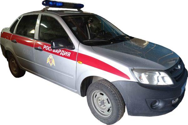 Фото комплекта декоративных полос Росгвардии на автомоиль Лада Гранта