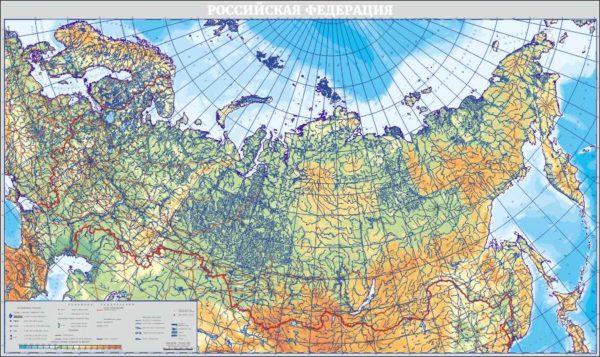 Физическая карта России макет