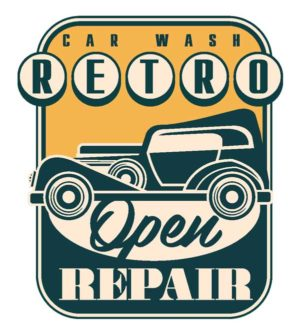 Наклейка Car Wash Retro Open Repair