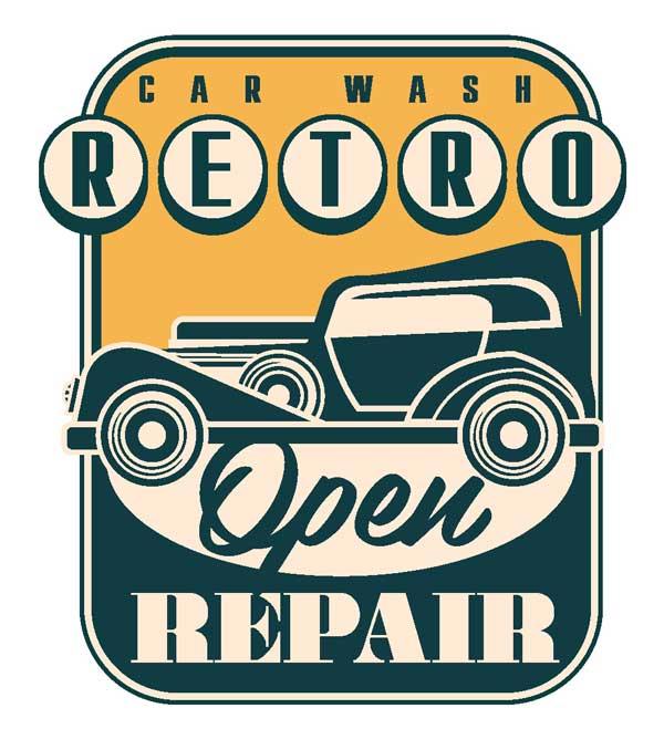 Наклейка Car Wash Retro Open Repair