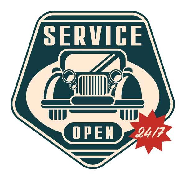 Макет наклейки Servise Open 24/7