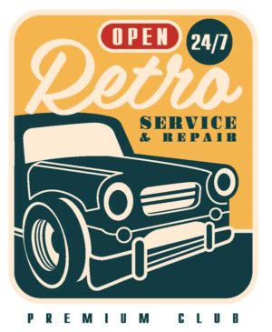 Эскиз наклейки Open 24/7 Retro Service&Repair Premium Club