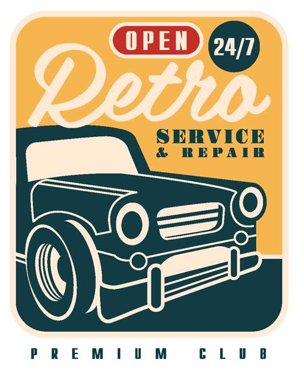 Эскиз наклейки Open 24/7 Retro Service&Repair Premium Club