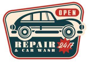Макет наклейки Open Repair & Car Wash 24/7