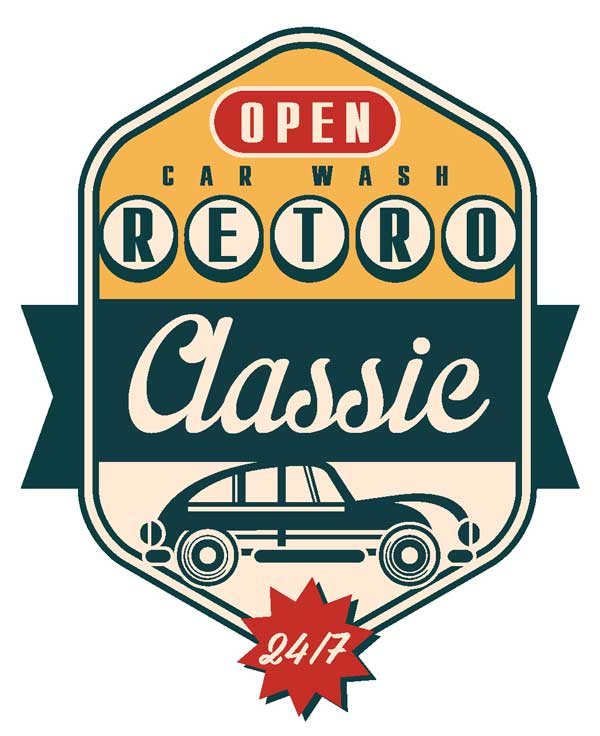 Эскиз наклейки Open Car Wash Retro Classic 24/7