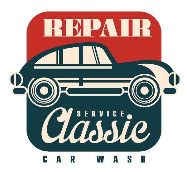 Наклейка repair service classic car wash